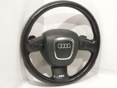 Audi Q7 4L S-Line Black Leather 3 Spoke Steering Wheel Paddle Shift 4F0419091CA (Item #271040)